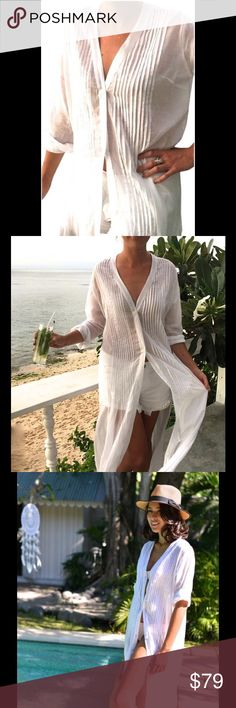 Caftan Dress White Cotton/Beach Beautiful Coverup My Cover Up Dress is designed to wear over swimwear; wear at the beach or poolside. Soft, voile cotton fabric will catch the wind and give a breezy, feminine feel. Relaxed holiday glamour at its best! This is Brand New! Wash cool or cold water and hang to dry , will last years!  ~ Features long shirt shape, with optional tie ~ Shell buttons  ~ Fine Pleat detailing Fabrication:  Cotton Voile - sheer Very soft &light natural cotton fabric…