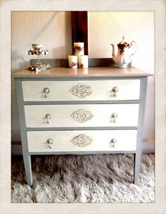 Shabby Chic Chest of Drawers in Paris Grey & Old White