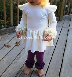 7025d710573 wholesale icing ruffle shirt and cream double ruffle leggings outfit for  baby girls Double Ruffle