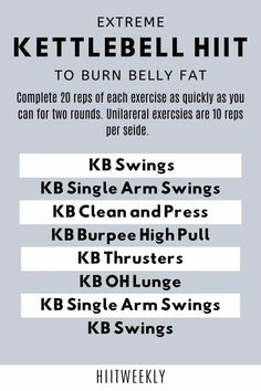 Do this extreme kettlebell HIIT workout for rapid results three days a week and watch your belly fat melt away. Kettlebell Workouts For Women, Kettlebell Clean, Hiit Workouts With Weights, Weights Workout For Women, Hiit Workouts For Beginners, Full Body Hiit Workout, Hiit Workout At Home, Weight Training Workouts, Fat Burning Workout