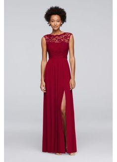 bab9298bb27 Long Bridesmaid Dress with Ribbon Waist 4XLF19328 Wine Color Bridesmaid  Dress