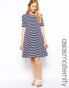 ASOS Maternity Swing Dress In Stripe