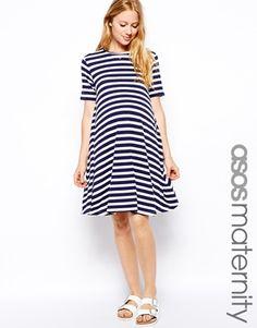 ASOS Maternity Swing Dress In Stripe