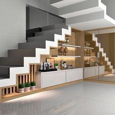 Modern Staircase in 2020 Staircase Storage, House Staircase, Modern Staircase, Kitchen Room Design, Home Room Design, Home Interior Design, Interior Stairs, Bungalow House Design, Modern House Design