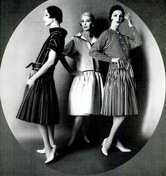 Three dropped-waist dresses inspired by the 1920s are from James Galanos, photo by Mark Shaw, 1960