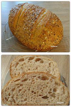 Zabpelyhes kovászos tönkölykenyér | Betty hobbi konyhája Ring Cake, How To Make Bread, Scones, Bakery, Food And Drink, Healthy Recipes, Breads, Hama, Diet