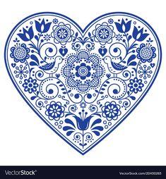 Illustration of Scandinavian folk heart vector design, Valentine's day, birthday or wedding greeting card, floral pattern in navy blue vector art, clipart and stock vectors. Scandinavian Embroidery, Scandinavian Folk Art, Illustration Vector, Illustrations, Bordado Popular, Vintage Logo, Retro Background, Mexican Folk Art, Retro Logos