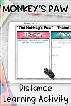 This digital short story unit has everything you need to teach The Monkey's Paw in middle school ELA, whether distance learning, homeschooling, or in the classroom!  Engage students and build their reading comprehension skills with these Monkey's Paw activities focused on plot, sequence of events, vocabulary, inferencing, theme, and mood.  #middleschoolela #themonkeyspaw #distancelearning Writing Resources, Writing Skills, Writing Activities, The Monkey's Paw, Upper Elementary Resources, Reading Comprehension Strategies, Vocabulary Practice, Blended Learning, Middle School Science