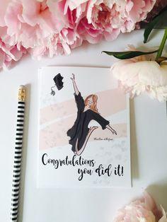 Congratulations Graduate Discover Graduation Card - Cap and Gown Card- Congratulations Card - Cards for Girls and Women Graduation Images, Graduation Cards Handmade, Graduation Theme, Graduation Quotes, Graduation Decorations, Graduation Invitations, Graduation Gifts, Graduation Ideas, Handmade Cards