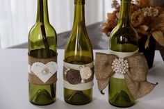 Recycled Decorated Bottles Shabby Chic DIY Bride Wedding Decoration