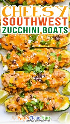 Cheesy Southwest Zucchini Boats are a delicious baked meal packed with super flavorful protein and veggies. These are perfect for weeknight dinners, quick meals, and even meal prepping. Zucchini boats are a great option if you're looking to add more veggies into your diet or lower your carbs. I like to make these and have them for lunch over my salad throughout the week. | @kayscleaneats #summerdinnerrecipe #healthymealprep #howtomakezucchiniboats #summerrecipes Zucchini Boat Recipes, Zucchini Boats, Healthy Zucchini, Clean Eating For Beginners, Clean Eating Recipes, Side Dish Recipes, Easy Dinner Recipes, Real Food Recipes, Healthy Recipes