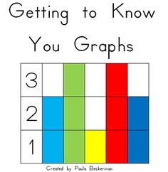 Getting To Know You Graphs: 11 graphs to complete as a whole class.  Each graph is offered two ways: as headers to place in a pocket chart (students place their name in the correct column), and as a projectable graph with follow up questions.  $3 TpT