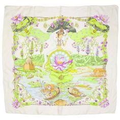 Hermes Purple and Green Lotus Print Sarasvati 90cm Silk Scarf