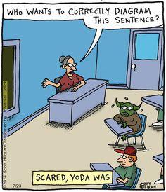 Yoda in the Argyle Sweater comic strip. English Teacher Humor, English Jokes, English Grammar, Argyle Sweater Comic, Starwars, Grammar Memes, The Argyle, Science Jokes, Chemistry Jokes