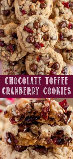 This Chocolate Cranberry Toffee Cookies Recipe is absolutely delicious! Crisp edges, perfectly chewy centers, and loaded with a unique blend of mix-ins! White Chocolate Cranberry Cookies, Chocolate Chip Shortbread Cookies, Toffee Cookies, Chocolate Toffee, Cookie Brownies, Chocolate Cheesecake, Cookie Bars, Cranberry Dessert, Grape Jelly Meatballs