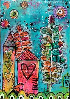 Home is where the heart is - art journal page by birgit koopsen