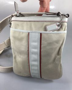 Coach F10709 Off-White Fabric White Red Small Cross-Body Shoulder Bag Handbag #Coach #MessengerCrossBody