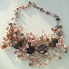 Shades of Autumn One of a Kind Statement necklace by blueladybird designs Soft Colors, Beautiful Necklaces, Wire Wrapping, Quartz, Bronze, Shades, Trending Outfits, Autumn, Gemstones