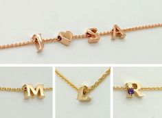 Tiny Letter Necklace - Solid Gold Minimalist Letter Necklace - Gold Alphabet Jewelry - Add Your Initials Necklace Letter Charm Necklace, Initial Bracelet, Bar Necklace, Letter Charms, Necklaces, The Chai, Graduation Gifts For Daughter, Gold Letters, Alphabet Letters