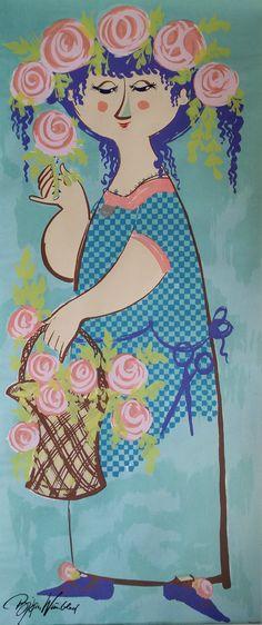 1970s Bjørn Wiinblad's Lady of the Roses  by OutofCopenhagen