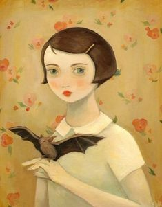 Portrait with Pet Bat by Emily Winfield Martin (the Black Apple) Art And Illustration, Amazing Paintings, Amazing Art, Bat Animal, Old Children's Books, Black Apple, Painting Of Girl, Matte Painting, Ink Painting