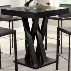 Check out the Coaster Furniture 100520 Crisscross Bar Table with Square Table Top