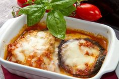 Recipe including course(s): Entrée; and ingredients: eggplant, mozzarella cheese, non-fat cottage cheese, parmesan cheese, spaghetti  sauce