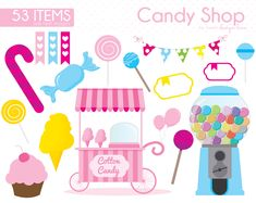 Candy Clipart, Candy Shop clipart, Lollipop Clipart, Sweet Shop, Carnival clipart, Gumball Machine, Sweet, Sugar, Party, CS0006 by Sweetdesignhive on Etsy Sweet Candy Store, Candy Clipart, Shopping Clipart, Shop House Plans, Gumball Machine, Spring Design, Shop Front Design, Shop Window Displays, Candy Shop