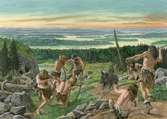 A very generic scene of prehistoric hunters by Roger Payne