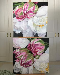 I had so much fun painting this pair. Tulips and white peonies. 76 x 76 cm