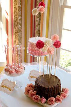 pompom de papel para festa de aniversario tema para cafe entre amigas blog vittamina decoração infantil bolo de aniversario rosa babados 2