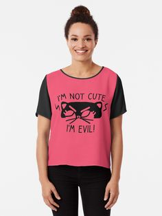 Adorable black kitty cat isn't cute! They're evil! Perfect for cat lovers. Short person problems. • Millions of unique designs by independent artists. Find your thing. Short Person, Black Kitty, Tshirt Colors, Female Models, Chiffon Tops, Cat Lovers, Classic T Shirts, Artists, Cats
