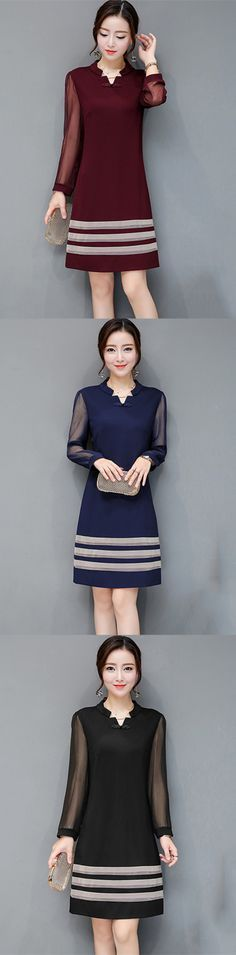 Women s Plus Size Going out Street chic Slim Sheath Dress - Solid Colored V  Neck Fall Black Navy Blue Wine XL XXL XXXL aaa0b25788aa