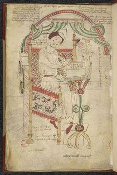 Sedulius Scotus, Expositio super primam edicionem Donati grammatici (Arundel 43 f. 80v) Donatus writing his grammar.