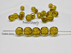 25 Mustard Green Czech Round Beads, 6mm Faceted Czech Round Beads, Beads, Supplies, Jewelry Supplies, Bead Supplies by Beads2Supply on Etsy