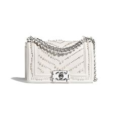 Discover the CHANEL Calfskin, Imitation Pearls & Silver-Tone Metal White Cruise and explore the artistry and craftsmanship of the House of CHANEL. Chanel Cruise, Popular Handbags, Cheap Handbags, Purses And Handbags, Cheap Purses, Cheap Bags, Wholesale Handbags, Handbags Online, Popular Purses