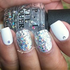 Winter nails, OPI I Snow You Love Me.  Glitter placement nail art