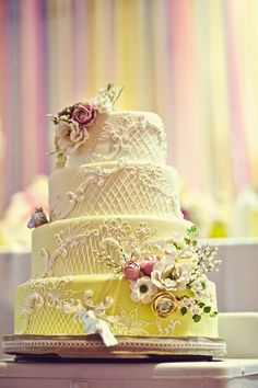 Gorgeous yellow cake with lace and floral detail by @Lori Bearden Bearden Bearden Hutchinson at the Caketress