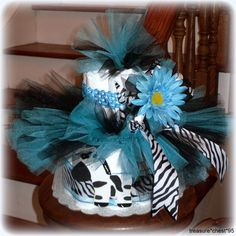 Blue Zebra Tutu Diaper Cake Baby Shower Gift Centerpiece Decorations Gift Table Favors Matching Headband Hair Bow Daisy Photo Prop Black and White Grosgrain Ribbon