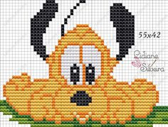 Animated Disney Characters, Mickey Mouse Characters, Mickey Mouse And Friends, Cross Stitch Baby, Cross Stitch Charts, Cross Stitch Designs, Cross Stitch Patterns, Hama Disney, Pluto Disney