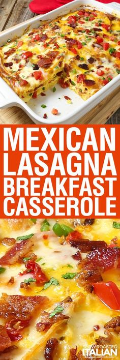 Mexican Lasagna Breakfast Casserole is a simple recipe that is bursting with flavor. With layer upon layer of delicious Mexican flavors, all wrapped up in a scrumptious breakfast casserole. This is my favorite breakfast and I can't get enough!
