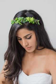 Gorgeous crown made with real succulents por PassionflowerMade