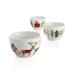3-Piece Jingle Porcelain Bowl Set  | Crate & Barrel