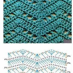 Crochet Diagram, Crochet Chart, Crochet Motif, Zig Zag Crochet Pattern, Crochet Stitches Patterns, Stitch Patterns, Knitting Patterns, Crochet Wool, Easy Crochet