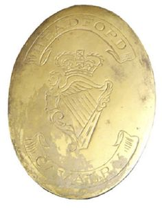 HEADFORT CAVALRY, CO GALWAY, LATE 18TH C IRISH YEOMANRY SHOULDER BELT PLATE.   Oval, cast brass, crowned Maid of Erin harp engraved at centre, twin ribbons above and below bearing the regimental title ''Headfort Cavalry''  Single hook and twin fixing studs to reverse, c. 1798, vertical.  Most certainly the Headfort of Co. Galway, and not the Ceannanas Mor (Headfort) of Co Meath, the volunteer units from which latter town during the late 18th C always titling themselves as being from…