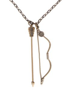 Brass tone necklace with Merida's bow & arrow pendants.