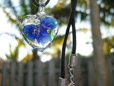 Necklace Blue Lampwork Glass Heart Pendant Bead Glows in the Dark Black Hemp Cord Chain South Florida Style