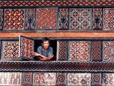 Detail van één van de prachtige huizen in Toraja land op Sulawesi.