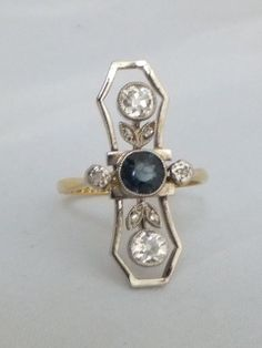Art Deco 35 point Sapphire & 1/2ct Diamond shell,18k gold & platinum ring