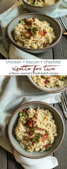 creamy, delicious risotto with smoky bacon, farmhouse cheddar cheese, and shredded rotisserie chicken. an ultimate comfort food for a cozy night in complete with wine pairings! chicken bacon cheddar risotto with wine pairings Chicken Risotto, Chicken Bacon, Chicken Recipes, Rotisserie Chicken, Stuffed Chicken, Roasted Chicken, Healthy Chicken, Pasta Recipes, Risotto